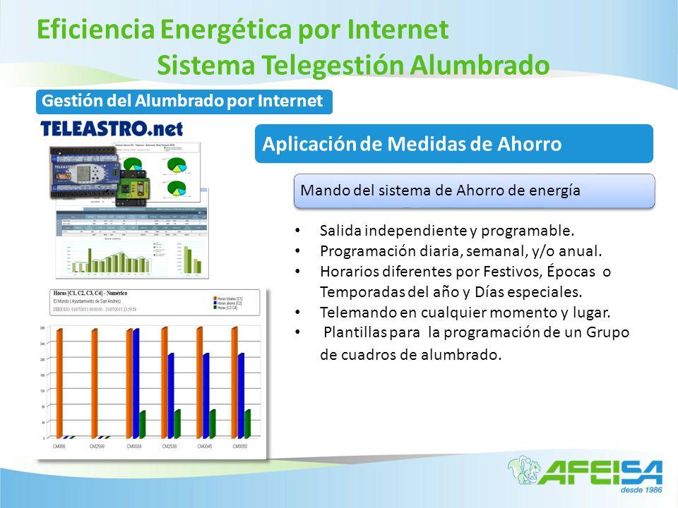 Eficiencia Energética por Internet Sistema Telegestión Alumbrado Salida independiente y programable. Programación diaria, semanal, y/o anual. Horarios