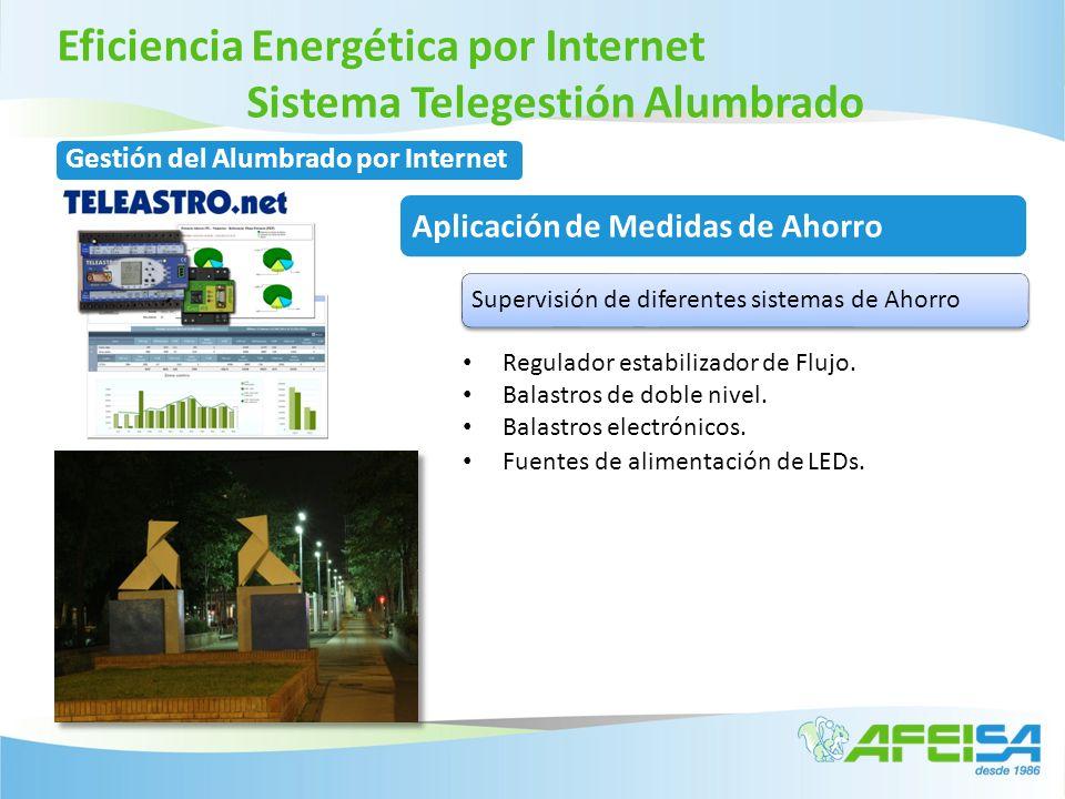 Eficiencia Energética por Internet Sistema Telegestión Alumbrado Regulador estabilizador de Flujo. Balastros de doble nivel. Balastros electrónicos. F