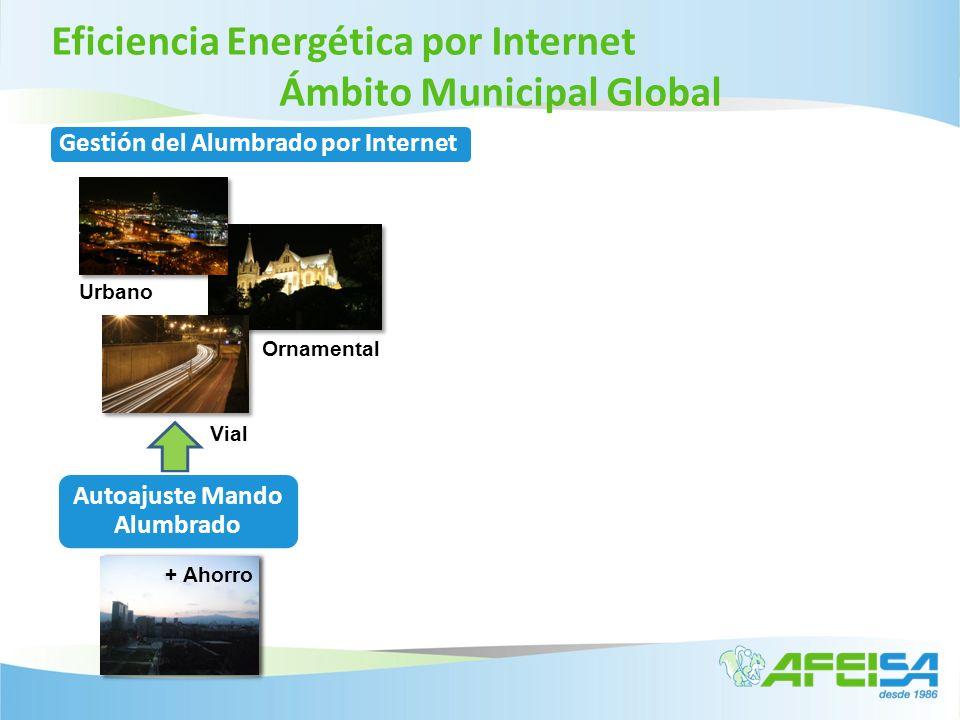 Eficiencia Energética por Internet Sistema Telegestión Alumbrado Gestión del Alumbrado por Internet Aplicación de Medidas de Ahorro Mando del sistema de Ahorro de energía Ajustar los Encendidos y Apagados del alumbradoSupervisión de diferentes sistemas de Ahorro