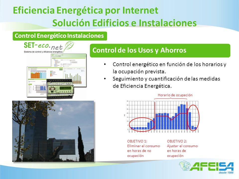 Eficiencia Energética por Internet Solución Edificios e Instalaciones OBJETIVO 1: Eliminar el consumo en horas de no ocupación OBJETIVO 2: Ajustar el