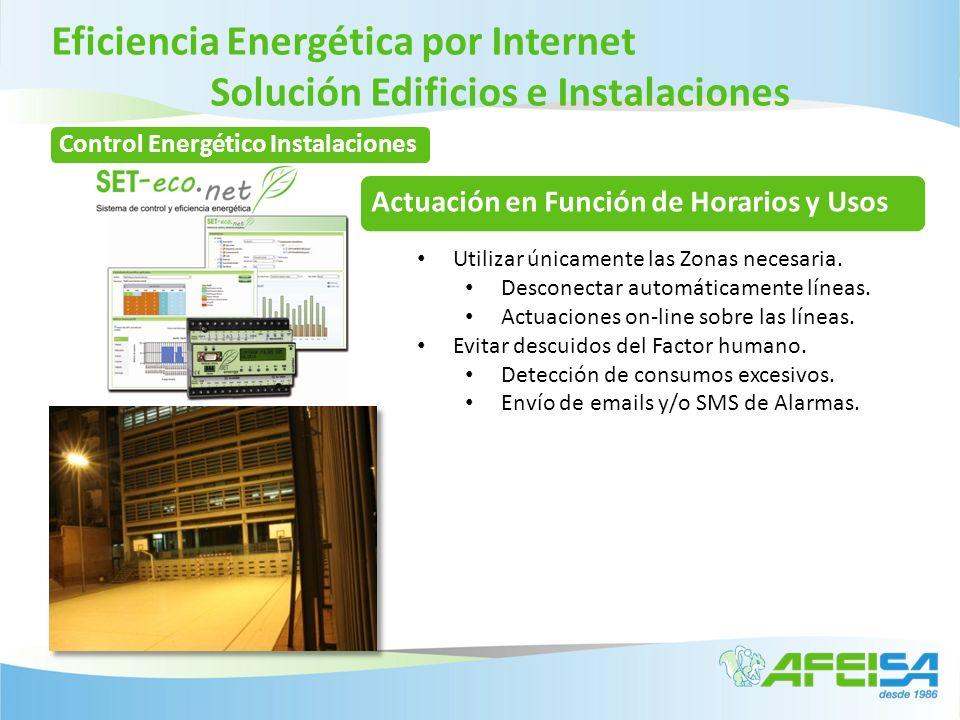Eficiencia Energética por Internet Solución Edificios e Instalaciones Actuación en Función de Horarios y Usos Utilizar únicamente las Zonas necesaria.