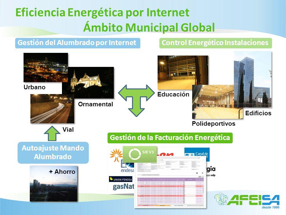 Eficiencia Energética por Internet Ámbito Municipal Global Vial Urbano Ornamental Autoajuste Mando Alumbrado Gestión de la Facturación Energética Cont