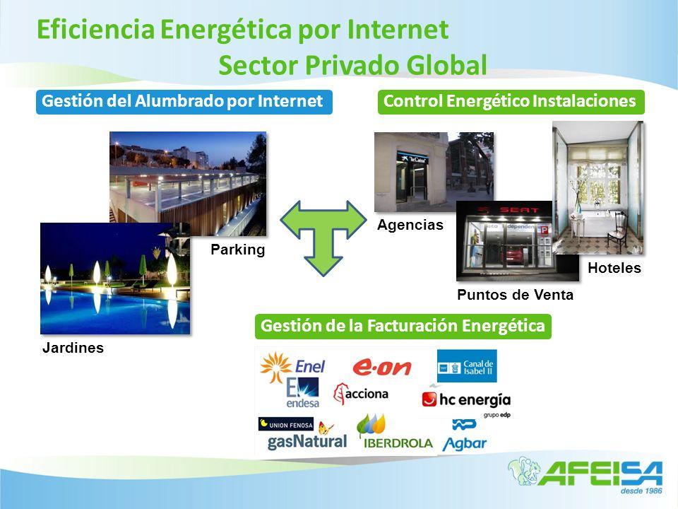 Eficiencia Energética por Internet Sector Privado Global Parking Jardines Agencias Hoteles Puntos de Venta Gestión del Alumbrado por InternetControl E