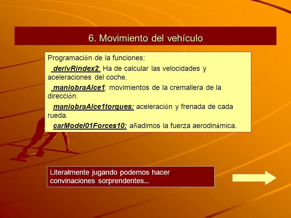 6. Movimiento del vehículo Programaci ó n de la funciones: derivRindex2: Ha de calcular las velocidades y aceleraciones del coche. maniobraAlce1: movi