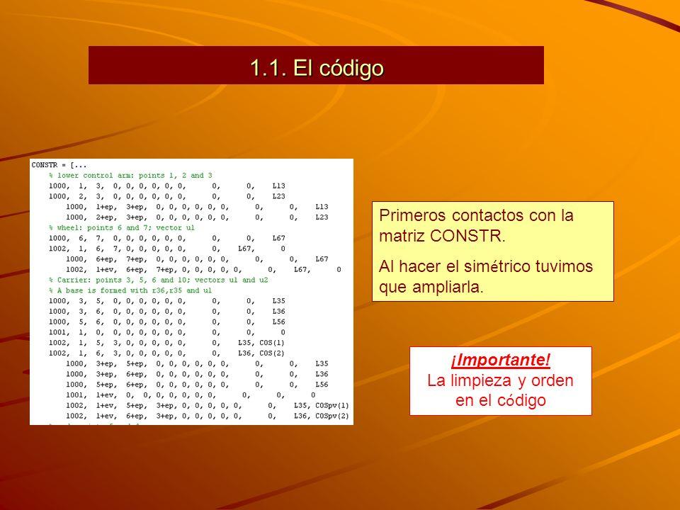 1.1. El código Primeros contactos con la matriz CONSTR. Al hacer el sim é trico tuvimos que ampliarla. ¡ Importante! La limpieza y orden en el c ó dig