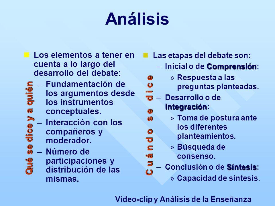 Análisis Los elementos a tener en cuenta a lo largo del desarrollo del debate: – –Fundamentación de los argumentos desde los instrumentos conceptuales.