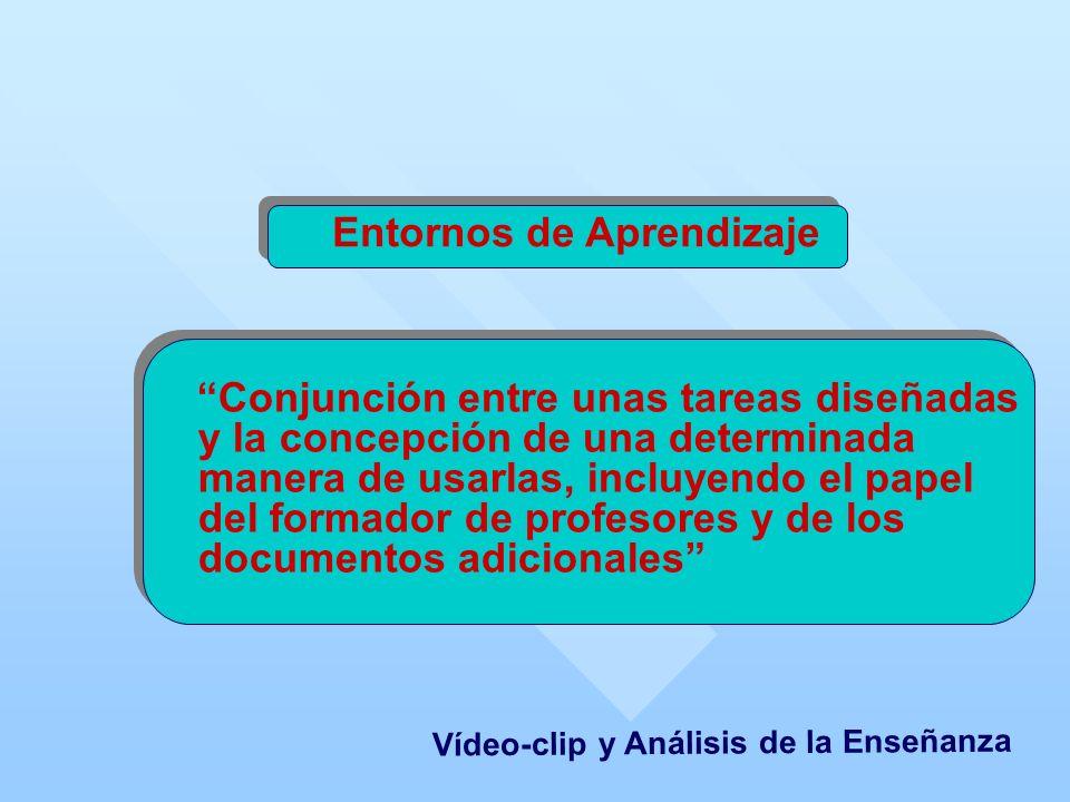 Entornos de Aprendizaje Conjunción entre unas tareas diseñadas y la concepción de una determinada manera de usarlas, incluyendo el papel del formador de profesores y de los documentos adicionales Vídeo-clip y Análisis de la Enseñanza