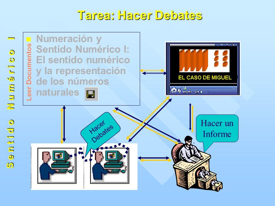 Tarea: Hacer Debates Numeración y Sentido Numérico I: El sentido numérico y la representación de los números naturales Hacer Debates Hacer un Informe S e n t i d o N u m é r i c o I Leer Documentos