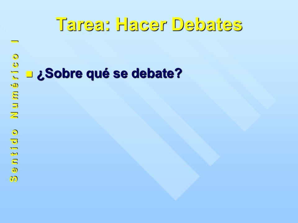 Tarea: Hacer Debates ¿Sobre qué se debate ¿Sobre qué se debate S e n t i d o N u m é r i c o I