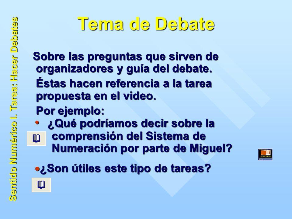Tema de Debate Sobre las preguntas que sirven de organizadores y guía del debate.