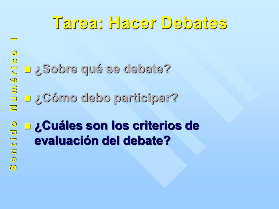 Tarea: Hacer Debates ¿Sobre qué se debate. ¿Sobre qué se debate.