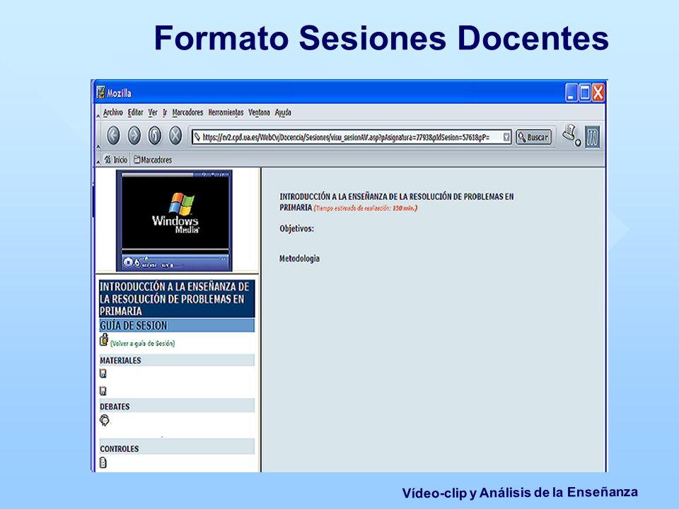 Formato Sesiones Docentes Vídeo-clip y Análisis de la Enseñanza
