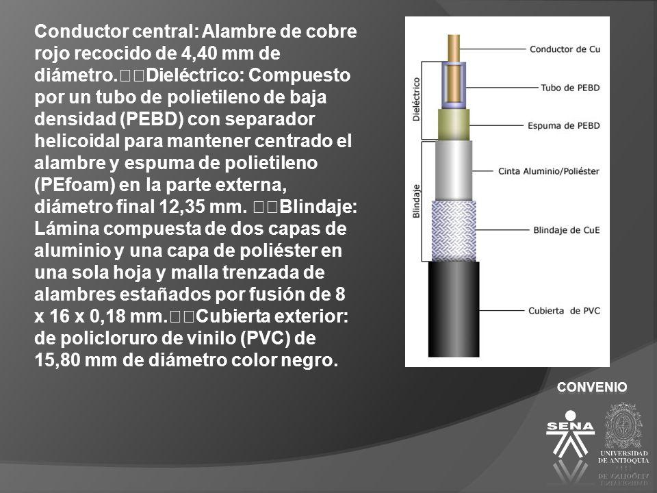 CONVENIO Conductor central: Alambre de cobre rojo recocido de 4,40 mm de diámetro. Dieléctrico: Compuesto por un tubo de polietileno de baja densidad
