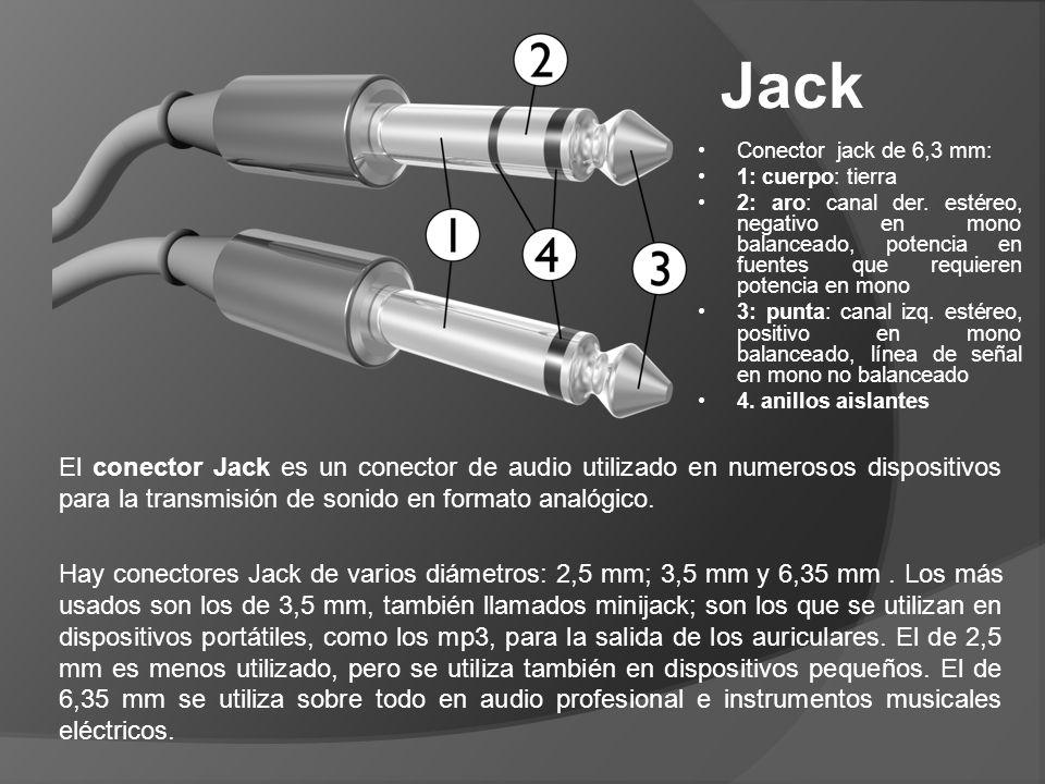 Jack Conector jack de 6,3 mm: 1: cuerpo: tierra 2: aro: canal der. estéreo, negativo en mono balanceado, potencia en fuentes que requieren potencia en
