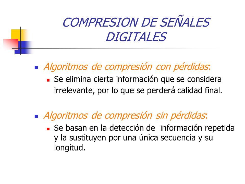COMPRESION DE SEÑALES DIGITALES Algoritmos de compresión con pérdidas: Se elimina cierta información que se considera irrelevante, por lo que se perderá calidad final.