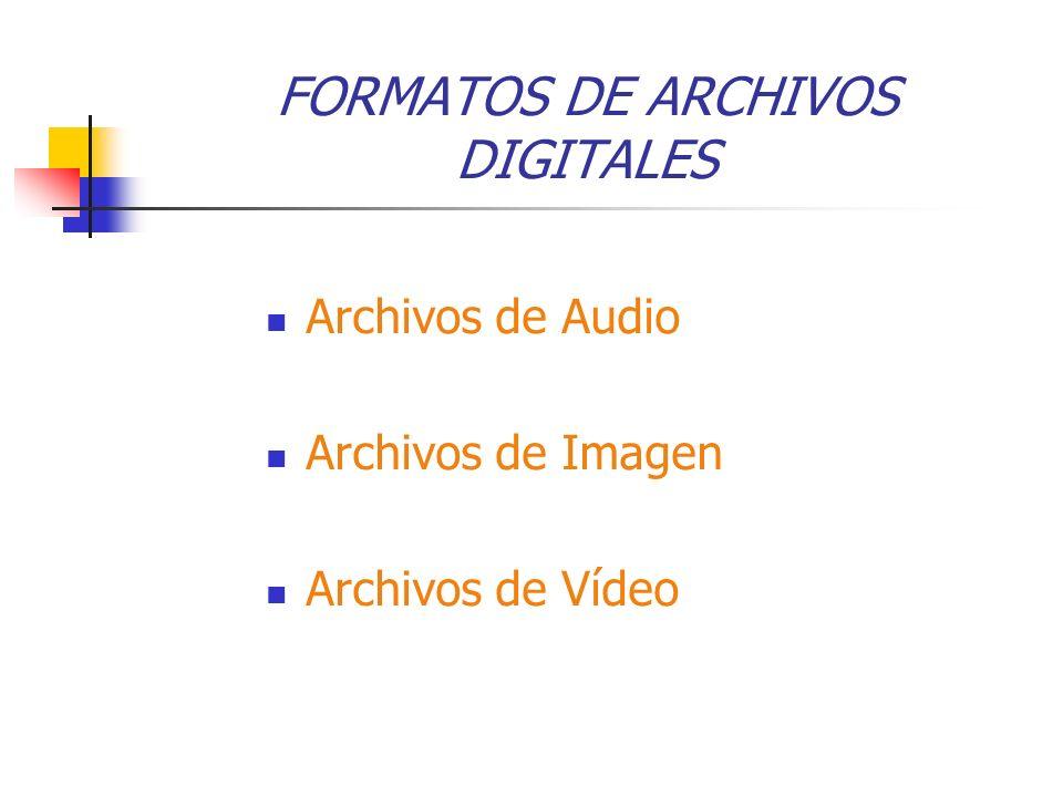 FORMATOS DE ARCHIVOS DIGITALES Archivos de Audio Archivos de Imagen Archivos de Vídeo