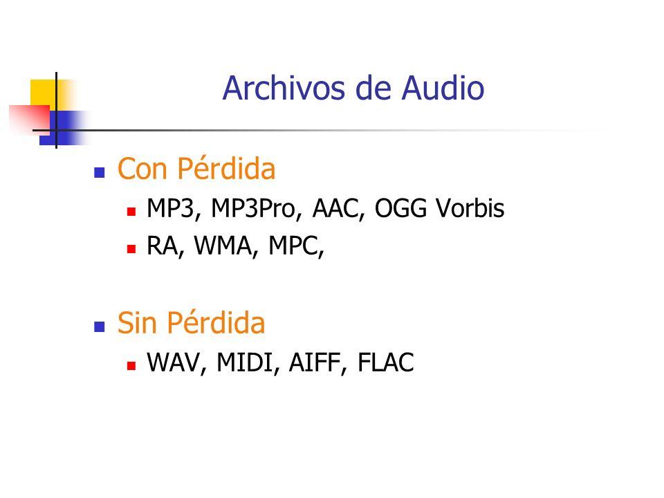 Archivos de Audio Con Pérdida MP3, MP3Pro, AAC, OGG Vorbis RA, WMA, MPC, Sin Pérdida WAV, MIDI, AIFF, FLAC