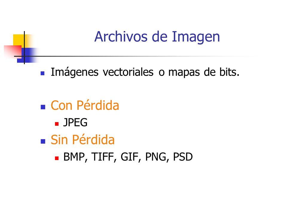 Archivos de Imagen Imágenes vectoriales o mapas de bits.