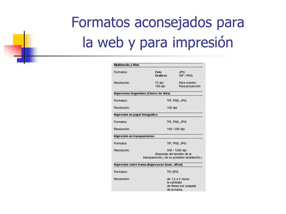 Formatos aconsejados para la web y para impresión