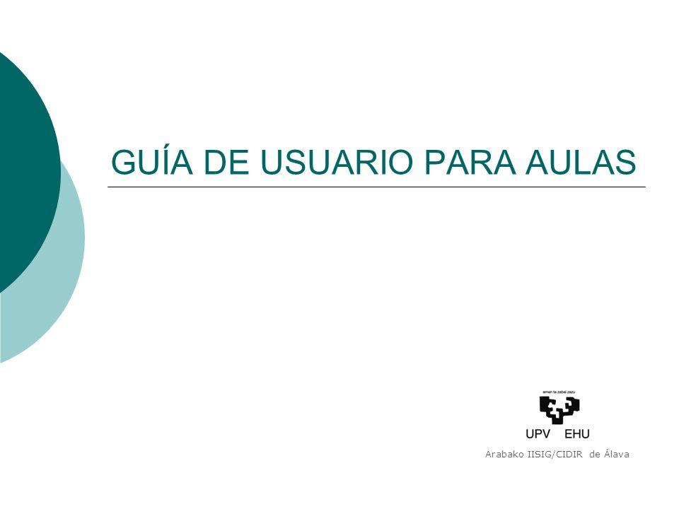GUÍA DE USUARIO PARA AULAS Arabako IISIG/CIDIR de Álava