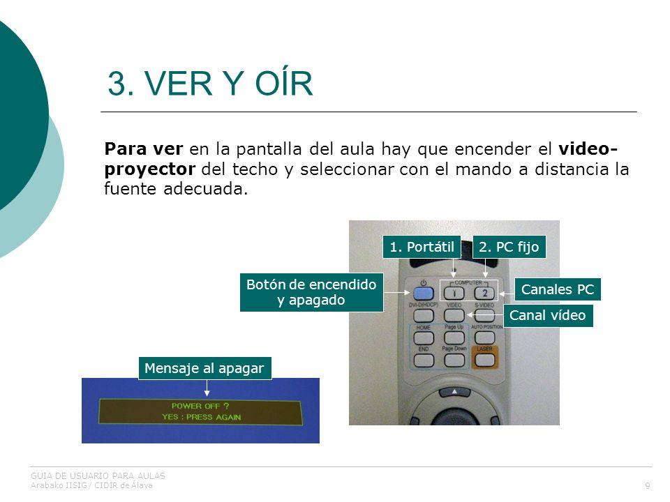 3. VER Y OÍR 9 Para ver en la pantalla del aula hay que encender el video- proyector del techo y seleccionar con el mando a distancia la fuente adecua