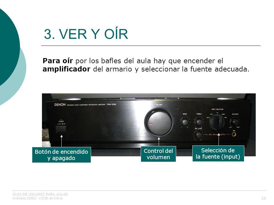 3. VER Y OÍR 10 Para oír por los bafles del aula hay que encender el amplificador del armario y seleccionar la fuente adecuada. Botón de encendido y a