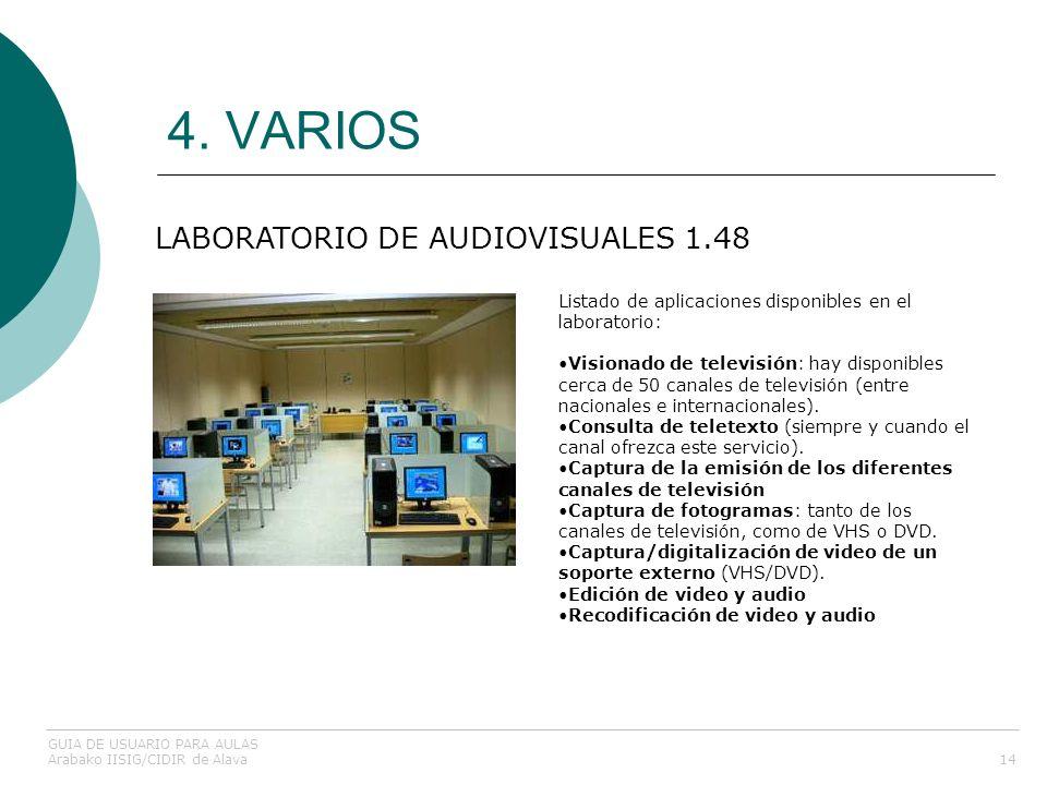 4. VARIOS 14 LABORATORIO DE AUDIOVISUALES 1.48 GUIA DE USUARIO PARA AULAS Arabako IISIG/CIDIR de Alava Listado de aplicaciones disponibles en el labor