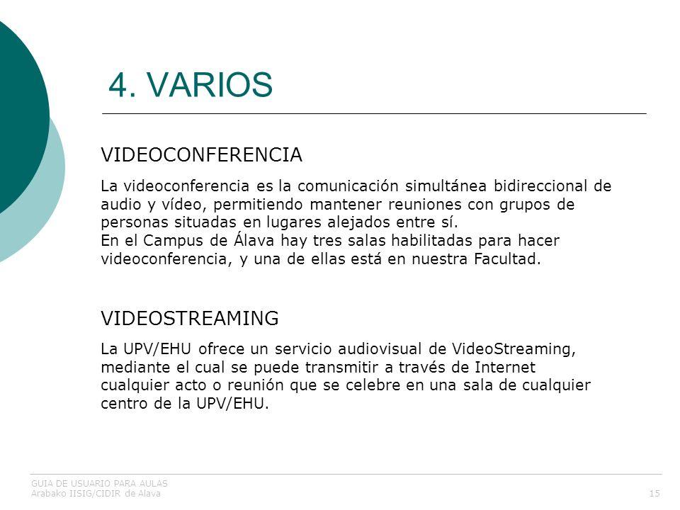 4. VARIOS 15 VIDEOCONFERENCIA GUIA DE USUARIO PARA AULAS Arabako IISIG/CIDIR de Alava La videoconferencia es la comunicación simultánea bidireccional