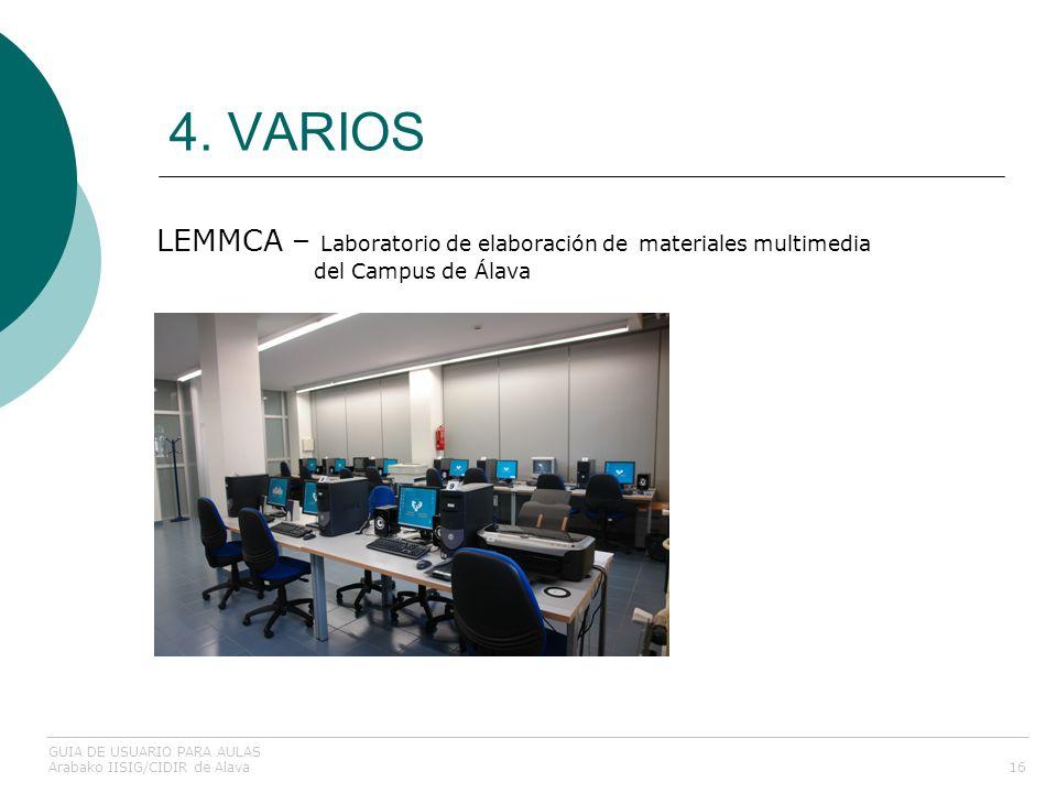 4. VARIOS 16 LEMMCA – Laboratorio de elaboración de materiales multimedia del Campus de Álava GUIA DE USUARIO PARA AULAS Arabako IISIG/CIDIR de Alava