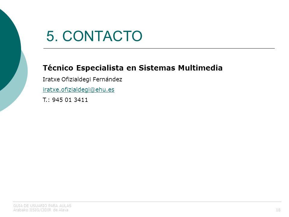 5. CONTACTO 18 Técnico Especialista en Sistemas Multimedia Iratxe Ofizialdegi Fernández iratxe.ofizialdegi@ehu.es T.: 945 01 3411 iratxe.ofizialdegi@e