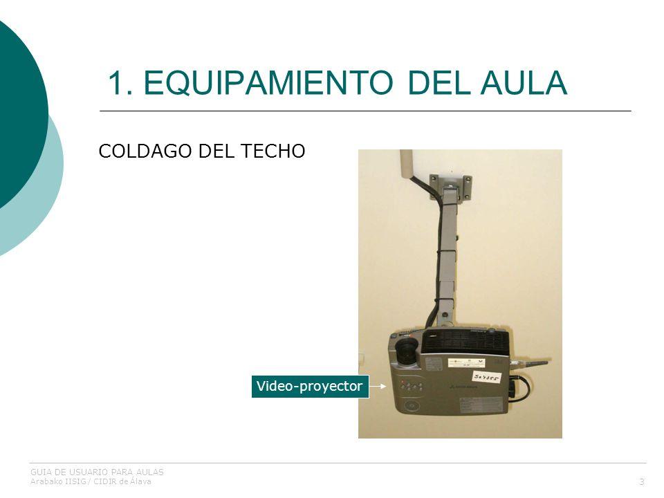 1. EQUIPAMIENTO DEL AULA 3 COLDAGO DEL TECHO Video-proyector GUIA DE USUARIO PARA AULAS Arabako IISIG / CIDIR de Álava