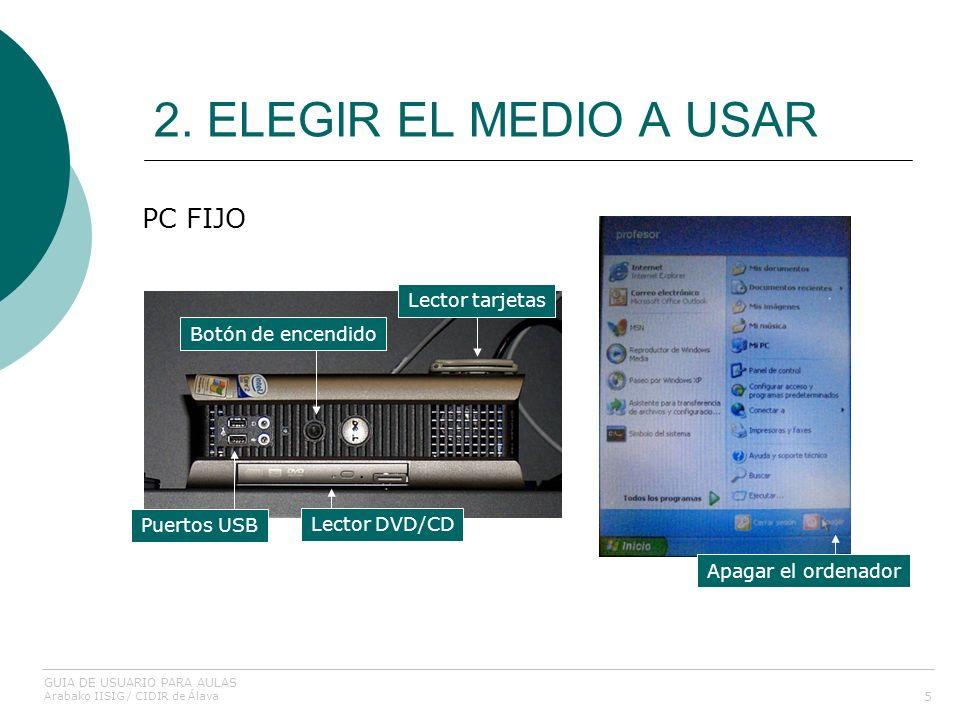 2. ELEGIR EL MEDIO A USAR 5 PC FIJO Botón de encendido Lector tarjetas Lector DVD/CD Puertos USB Apagar el ordenador GUIA DE USUARIO PARA AULAS Arabak