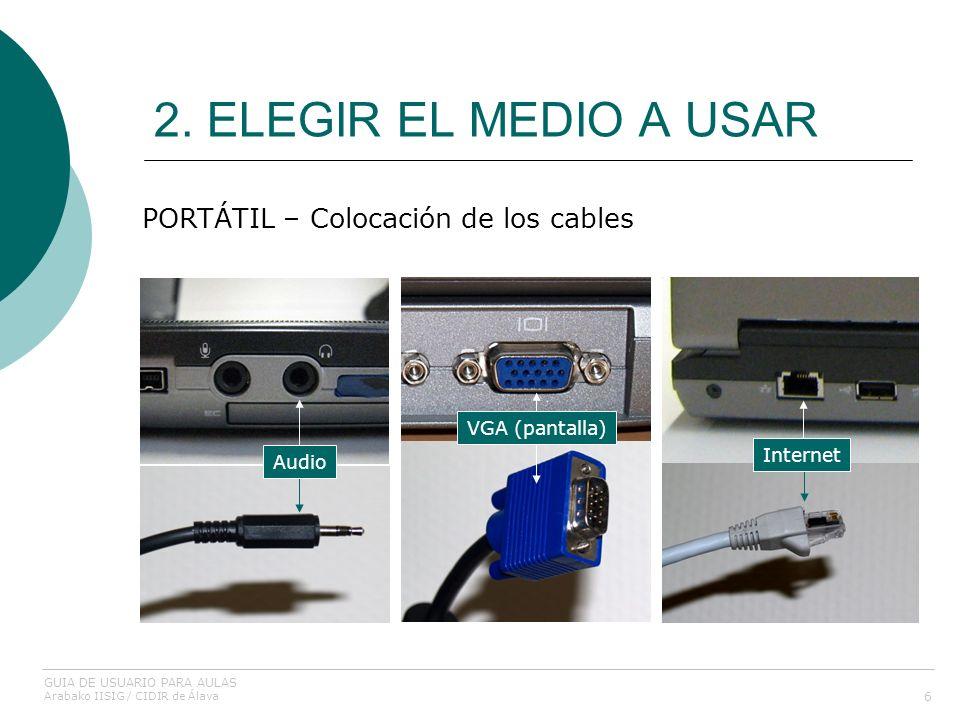 2. ELEGIR EL MEDIO A USAR 6 PORTÁTIL – Colocación de los cables Audio VGA (pantalla) Internet GUIA DE USUARIO PARA AULAS Arabako IISIG / CIDIR de Álav