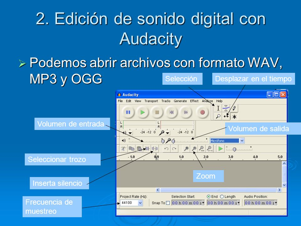 2. Edición de sonido digital con Audacity Podemos abrir archivos con formato WAV, MP3 y OGG Podemos abrir archivos con formato WAV, MP3 y OGG Volumen