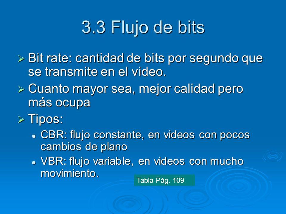 3.3 Flujo de bits Bit rate: cantidad de bits por segundo que se transmite en el video. Bit rate: cantidad de bits por segundo que se transmite en el v