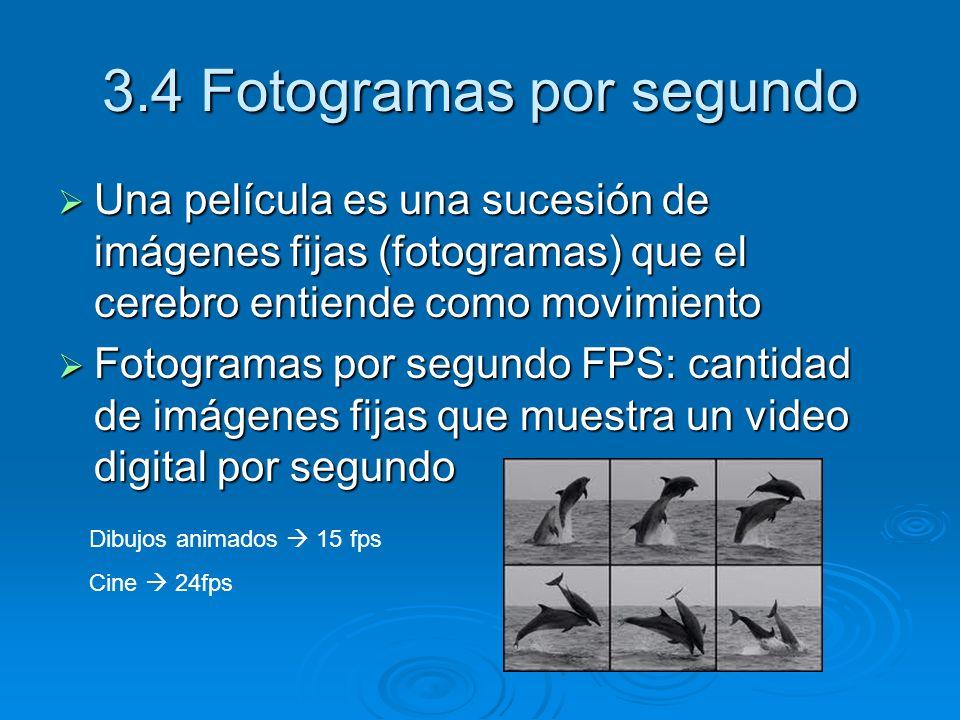 3.4 Fotogramas por segundo Una película es una sucesión de imágenes fijas (fotogramas) que el cerebro entiende como movimiento Una película es una suc