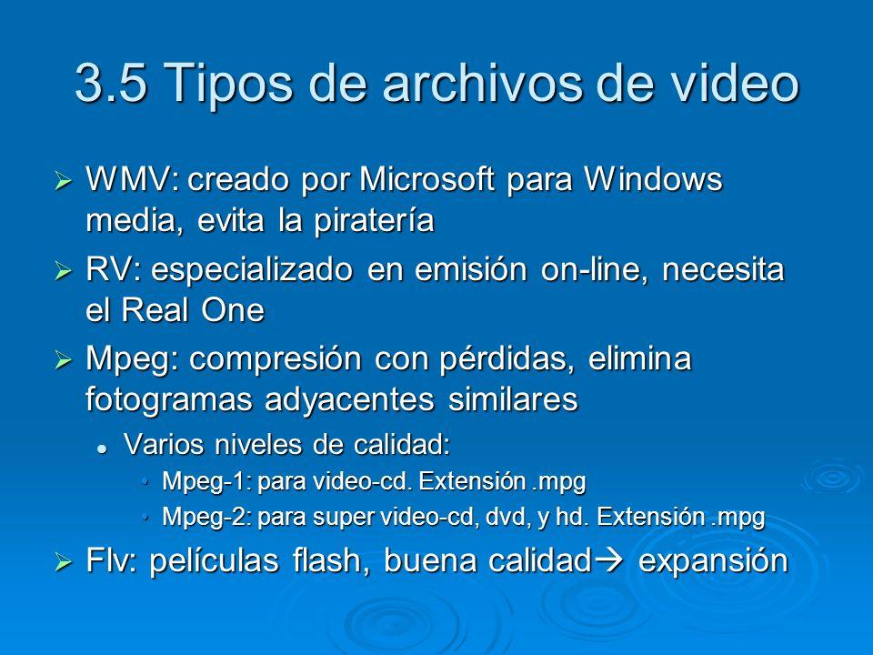 3.5 Tipos de archivos de video WMV: creado por Microsoft para Windows media, evita la piratería WMV: creado por Microsoft para Windows media, evita la