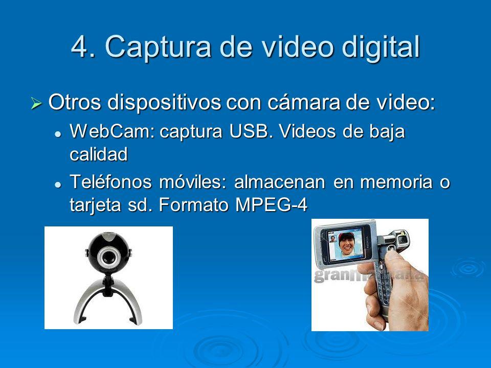 4. Captura de video digital Otros dispositivos con cámara de video: Otros dispositivos con cámara de video: WebCam: captura USB. Videos de baja calida