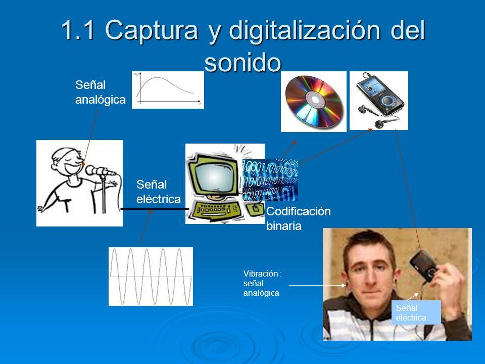 1.1 Captura y digitalización del sonido Señal analógica Señal eléctrica Codificación binaria Señal eléctrica Vibración : señal analógica