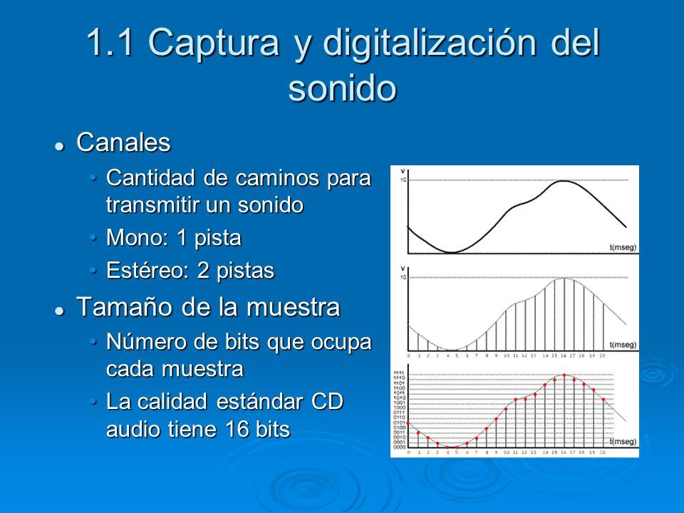 1.1 Captura y digitalización del sonido Canales Canales Cantidad de caminos para transmitir un sonidoCantidad de caminos para transmitir un sonido Mon