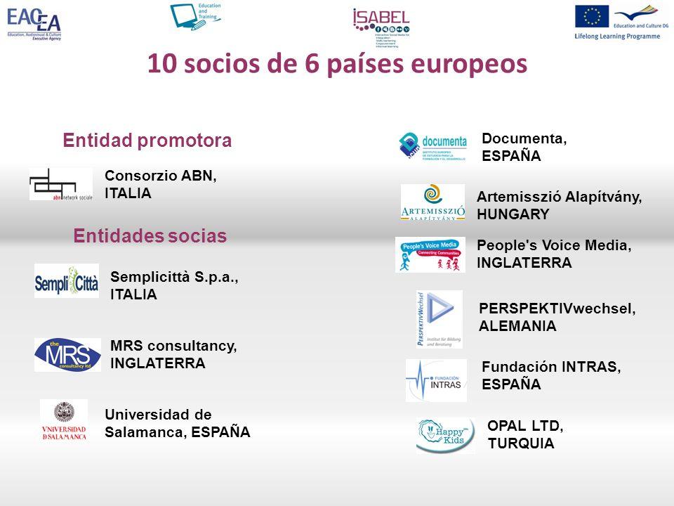 10 socios de 6 países europeos Documenta, ESPAÑA Artemisszió Alapítvány, HUNGARY Entidad promotora Entidades socias People's Voice Media, INGLATERRA P