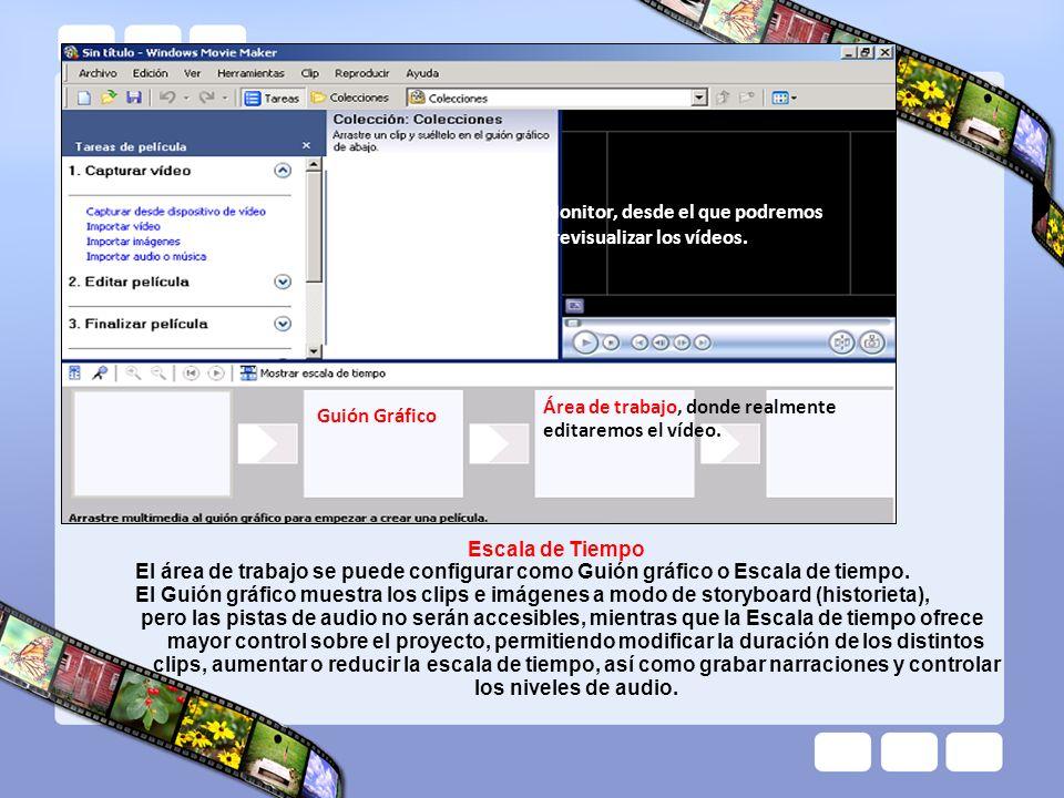 Monitor, desde el que podremos previsualizar los vídeos. Área de trabajo, donde realmente editaremos el vídeo. Escala de Tiempo El área de trabajo se