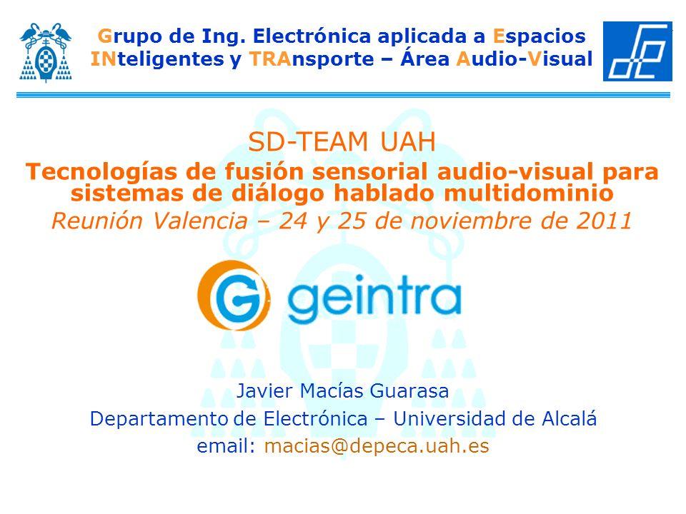 SD-TEAM UAH – Reunión Valencia 24 y 25 de noviembre de 2011 Descripción técnica Localización basada en compressive sensing Nuevo método: Espacio generativo de SRP