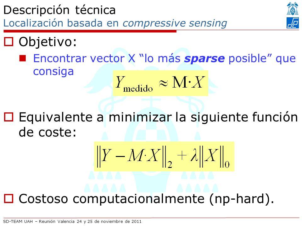 SD-TEAM UAH – Reunión Valencia 24 y 25 de noviembre de 2011 Descripción técnica Localización basada en compressive sensing Objetivo: Encontrar vector X lo más sparse posible que consiga Equivalente a minimizar la siguiente función de coste: Costoso computacionalmente (np-hard).