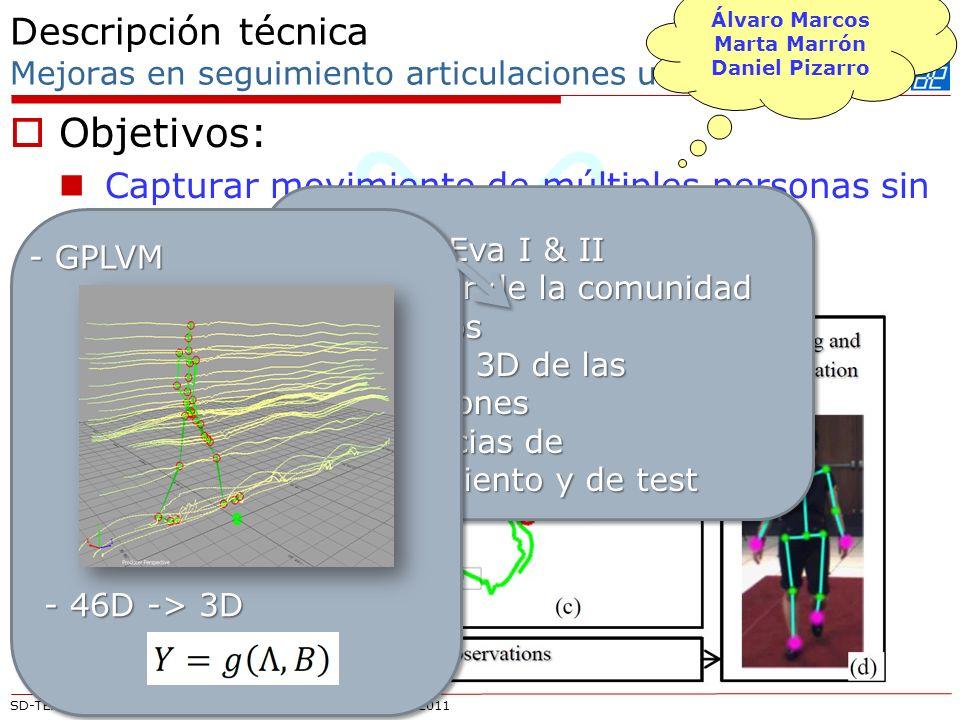 SD-TEAM UAH – Reunión Valencia 24 y 25 de noviembre de 2011 Descripción técnica Mejoras en seguimiento articulaciones usando vídeo Objetivos: Capturar movimiento de múltiples personas sin equipamiento MOCAP Propuesta: - HumanEva I & II - Estándar de la comunidad - 4 sujetos - Posición 3D de las articulaciones - Secuencias de entrenamiento y de test - GPLVM - 46D -> 3D Álvaro Marcos Marta Marrón Daniel Pizarro