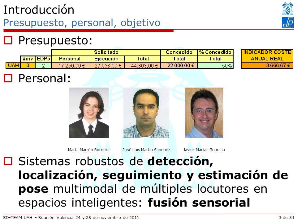 SD-TEAM UAH – Reunión Valencia 24 y 25 de noviembre de 2011 Descripción técnica Estimación de movimiento para inferencia psicológica Hands probability function: