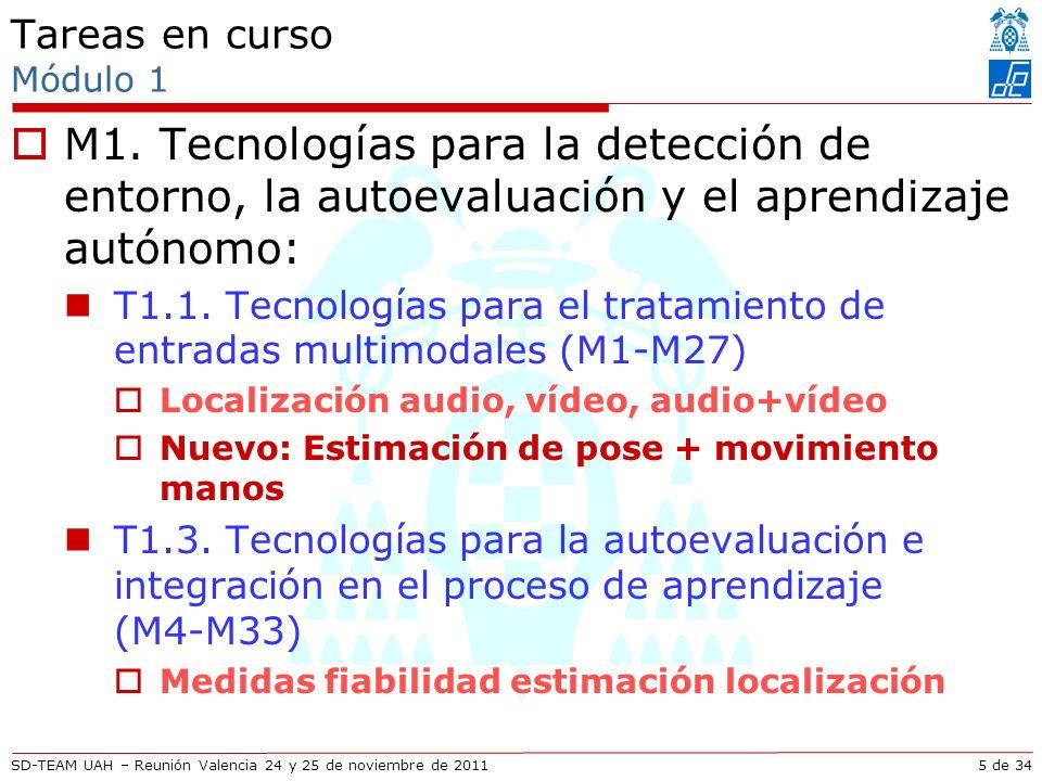 SD-TEAM UAH – Reunión Valencia 24 y 25 de noviembre de 2011 Descripción técnica Mejoras en seguimiento articulaciones usando vídeo Seguimiento en espacio reducido: