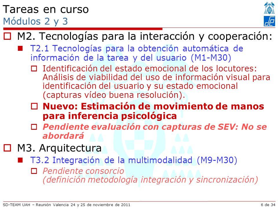 SD-TEAM UAH – Reunión Valencia 24 y 25 de noviembre de 2011 Descripción técnica Mejoras en seguimiento articulaciones usando vídeo Seguimiento en espacio reducido: Cuánta información hace falta