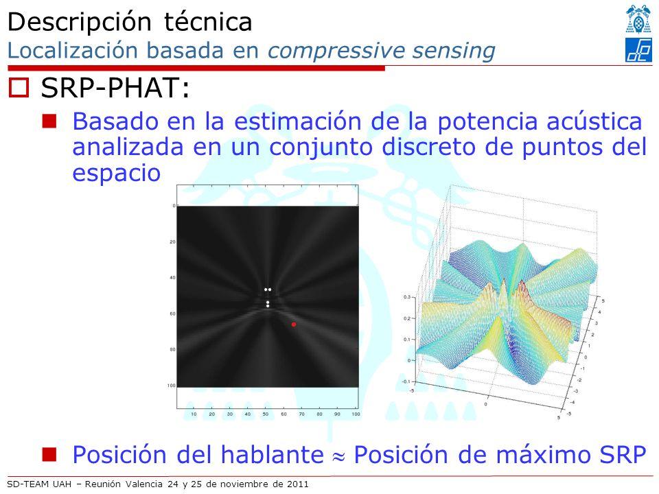 SD-TEAM UAH – Reunión Valencia 24 y 25 de noviembre de 2011 Descripción técnica Localización basada en compressive sensing SRP-PHAT: Basado en la estimación de la potencia acústica analizada en un conjunto discreto de puntos del espacio Posición del hablante Posición de máximo SRP