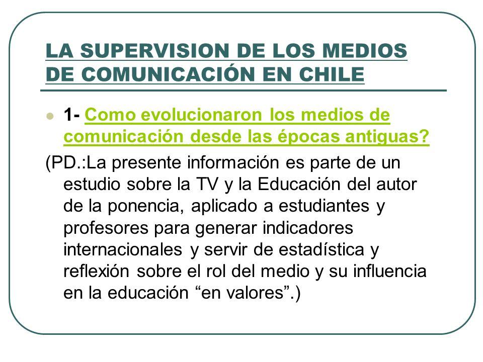 LA SUPERVISION DE LOS MEDIOS DE COMUNICACIÓN EN CHILE 1- Como evolucionaron los medios de comunicación desde las épocas antiguas?Como evolucionaron lo